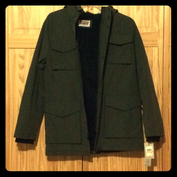 Levis Mens Jacket Army Green Lined Nwt Nwt